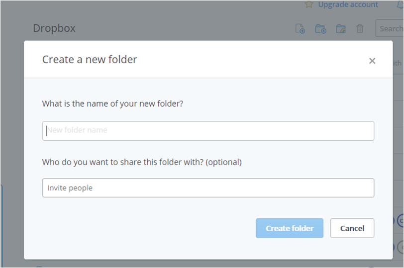 how to share new dropbox folder