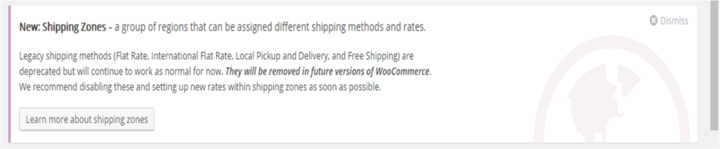 Woocommerce Shipping Zones notification