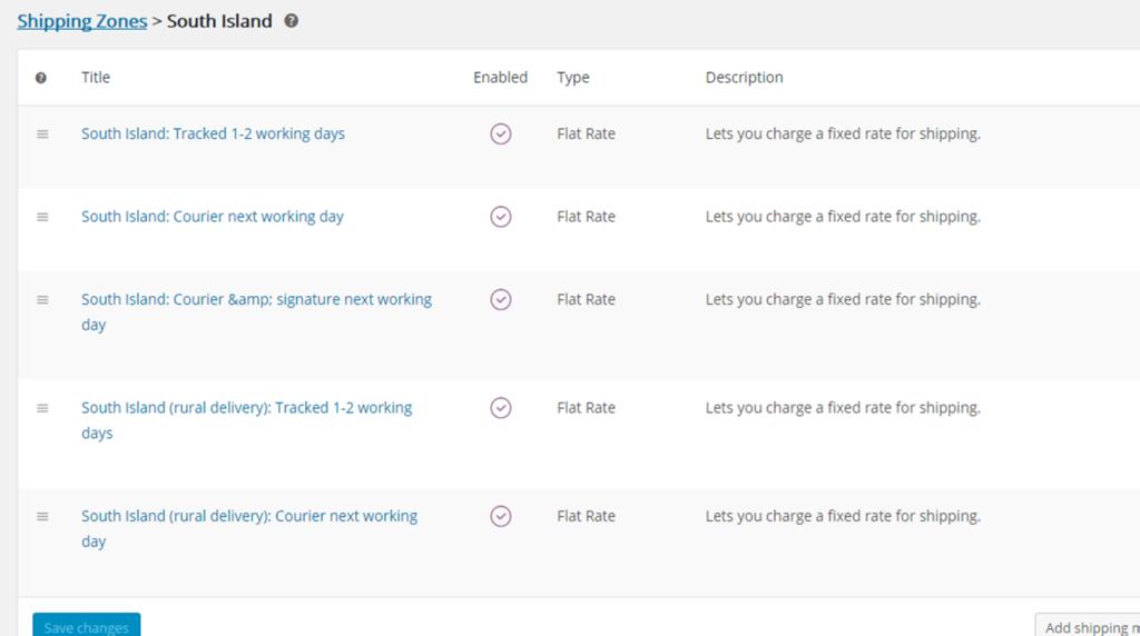 Woocommerce multiple flat rate methods per zone