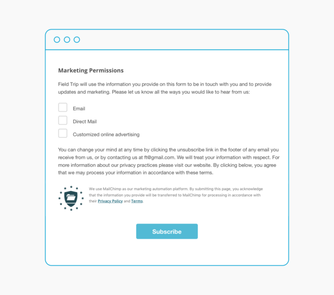 Mailchimp GDPR sign up form example